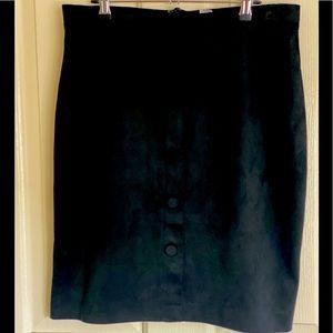 Black suede/ velvet button down skirt